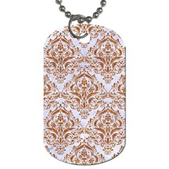 Damask1 White Marble & Rusted Metal (r) Dog Tag (one Side) by trendistuff