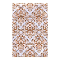 Damask1 White Marble & Rusted Metal (r) Shower Curtain 48  X 72  (small)  by trendistuff