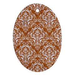 Damask1 White Marble & Rusted Metal Oval Ornament (two Sides) by trendistuff
