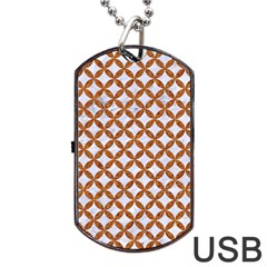 Circles3 White Marble & Rusted Metal (r) Dog Tag Usb Flash (two Sides) by trendistuff