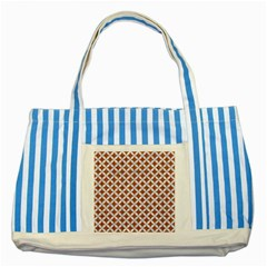 Circles3 White Marble & Rusted Metal Striped Blue Tote Bag by trendistuff