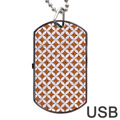 Circles3 White Marble & Rusted Metal Dog Tag Usb Flash (one Side) by trendistuff
