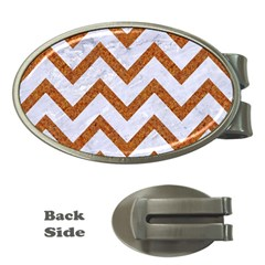 Chevron9 White Marble & Rusted Metal (r) Money Clips (oval)  by trendistuff