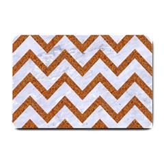 Chevron9 White Marble & Rusted Metal (r) Small Doormat  by trendistuff