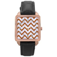 Chevron9 White Marble & Rusted Metal (r) Rose Gold Leather Watch  by trendistuff