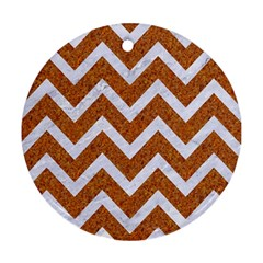 Chevron9 White Marble & Rusted Metal Round Ornament (two Sides) by trendistuff