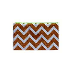 Chevron9 White Marble & Rusted Metal Cosmetic Bag (xs) by trendistuff