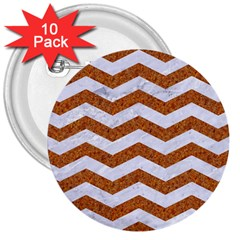 Chevron3 White Marble & Rusted Metal 3  Buttons (10 Pack)  by trendistuff