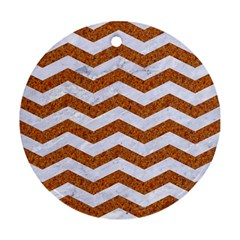 Chevron3 White Marble & Rusted Metal Round Ornament (two Sides) by trendistuff