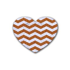 Chevron3 White Marble & Rusted Metal Heart Coaster (4 Pack)  by trendistuff