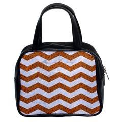 Chevron3 White Marble & Rusted Metal Classic Handbags (2 Sides) by trendistuff