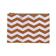 Chevron3 White Marble & Rusted Metal Cosmetic Bag (large)  by trendistuff