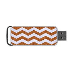 Chevron3 White Marble & Rusted Metal Portable Usb Flash (one Side) by trendistuff