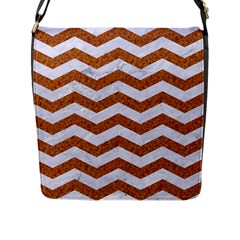 Chevron3 White Marble & Rusted Metal Flap Messenger Bag (l)  by trendistuff