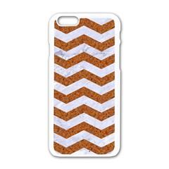Chevron3 White Marble & Rusted Metal Apple Iphone 6/6s White Enamel Case by trendistuff