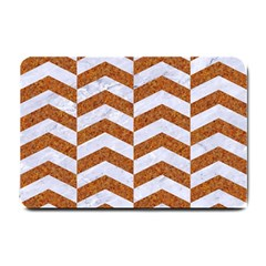Chevron2 White Marble & Rusted Metal Small Doormat  by trendistuff