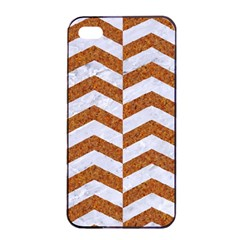 Chevron2 White Marble & Rusted Metal Apple Iphone 4/4s Seamless Case (black) by trendistuff