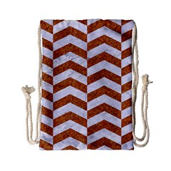 Chevron2 White Marble & Rusted Metal Drawstring Bag (small) by trendistuff