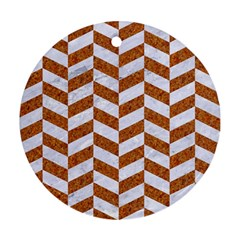 Chevron1 White Marble & Rusted Metal Ornament (round) by trendistuff