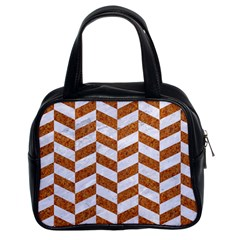 Chevron1 White Marble & Rusted Metal Classic Handbags (2 Sides) by trendistuff
