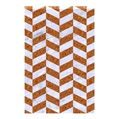 Chevron1 White Marble & Rusted Metal Shower Curtain 48  X 72  (small)  by trendistuff