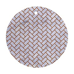Brick2 White Marble & Rusted Metal (r) Ornament (round) by trendistuff