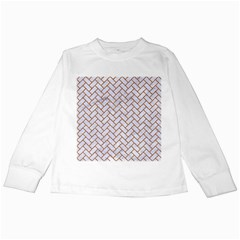 Brick2 White Marble & Rusted Metal (r) Kids Long Sleeve T Shirts by trendistuff