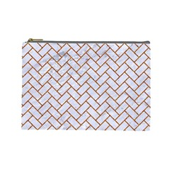Brick2 White Marble & Rusted Metal (r) Cosmetic Bag (large)  by trendistuff