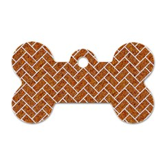 Brick2 White Marble & Rusted Metal Dog Tag Bone (two Sides) by trendistuff