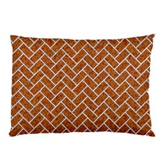 Brick2 White Marble & Rusted Metal Pillow Case