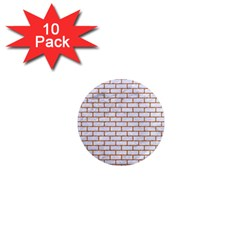 Brick1 White Marble & Rusted Metal (r) 1  Mini Magnet (10 Pack)  by trendistuff