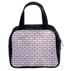 Brick1 White Marble & Rusted Metal (r) Classic Handbags (2 Sides) by trendistuff
