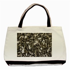 Black And White Leaves Pattern Basic Tote Bag by dflcprints