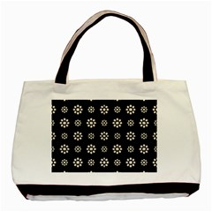 Dark Stylized Floral Pattern Basic Tote Bag by dflcprints