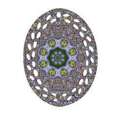 Summer Bloom In Floral Spring Time Ornament (oval Filigree) by pepitasart