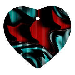 Hot Abstraction With Lines 3 Ornament (heart) by MoreColorsinLife