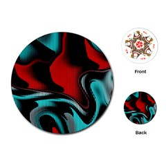 Hot Abstraction With Lines 3 Playing Cards (round)  by MoreColorsinLife