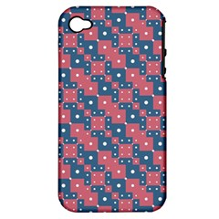 Squares And Circles Motif Geometric Pattern Apple Iphone 4/4s Hardshell Case (pc+silicone) by dflcprints