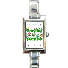 Earth Day Rectangle Italian Charm Watch by Valentinaart