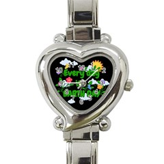 Earth Day Heart Italian Charm Watch by Valentinaart