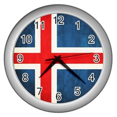 Iceland Flag Wall Clocks (silver)  by Valentinaart