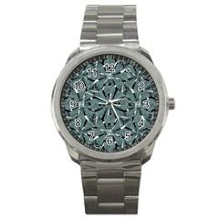 Modern Oriental Ornate Pattern Sport Metal Watch by dflcprints