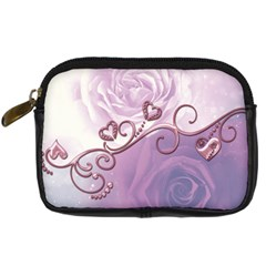 Wonderful Soft Violet Roses With Hearts Digital Camera Cases by FantasyWorld7
