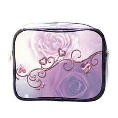 Wonderful Soft Violet Roses With Hearts Mini Toiletries Bags by FantasyWorld7