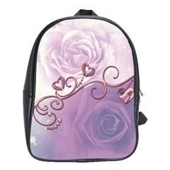 Wonderful Soft Violet Roses With Hearts School Bag (xl) by FantasyWorld7