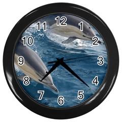Dolphin 4 Wall Clocks (black) by trendistuff