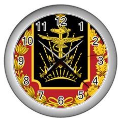Logo Of Imperial Iranian Ministry Of War Wall Clocks (silver)  by abbeyz71