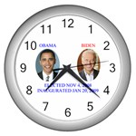 obama biden 2008 Wall Clock (Silver)