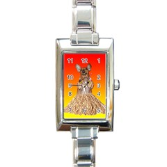 Dancing Dachshund Rectangular Italian Charm Watch from ArtsNow.com Front