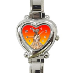 Dancing Dachshund Heart Italian Charm Watch from ArtsNow.com Front